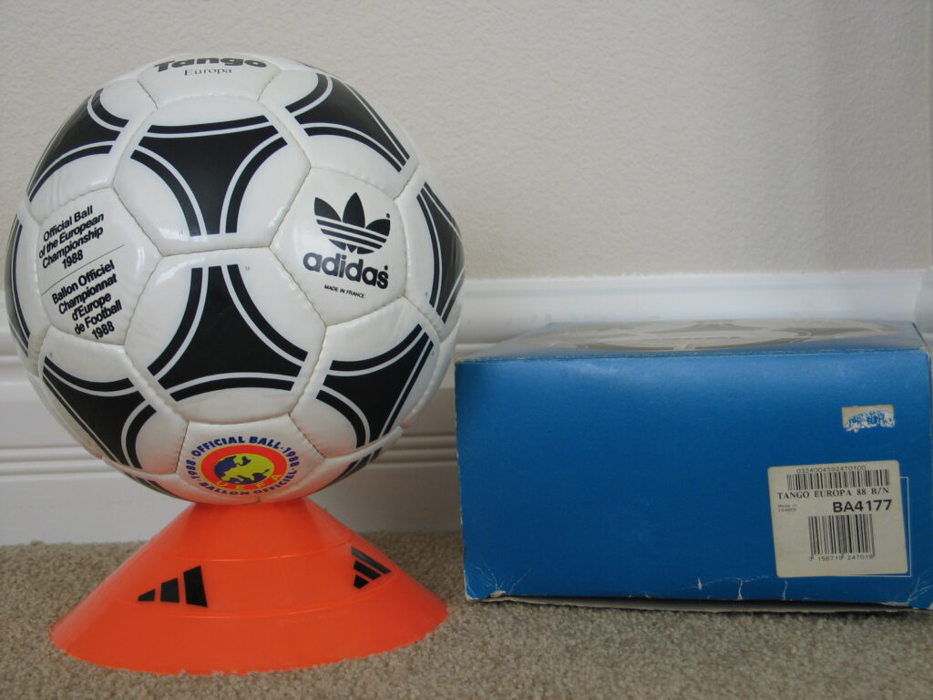 1988 Tango Europa Euro Ball and box 1988 Official Ball of the European Championships - Tango Europa