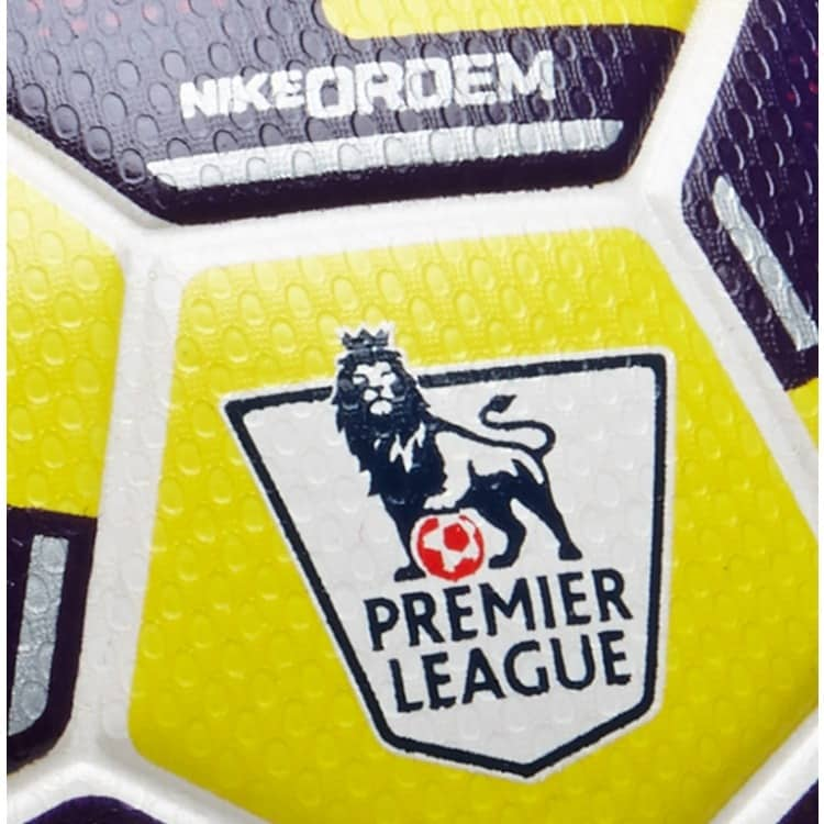 Premier league logo close up OFFICIAL EPL MATCH BALL 2014/2015 ORDEM 2