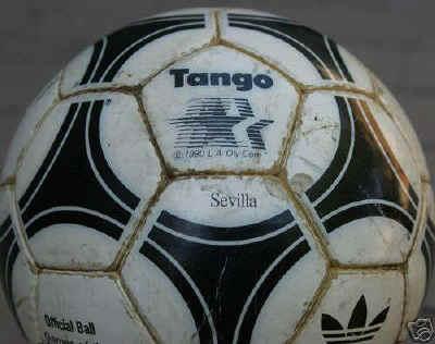 close up of ball Tango Sevilla Olympic 1984 Soccer Ball