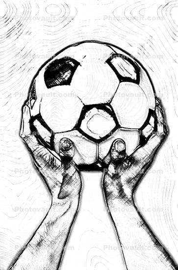 hand holding ball Soccer ball drawings