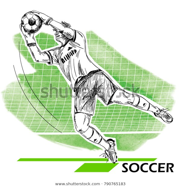 Goalie catching ball drawing Soccer ball drawings