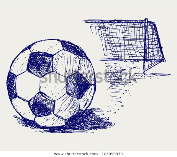 ball and net drawing Soccer ball drawings