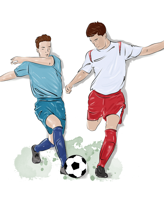 two players going for ball Soccer ball drawings