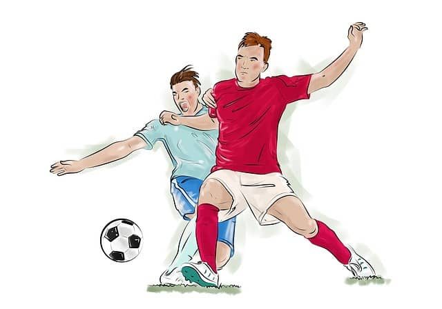 2 players tackling Soccer ball drawings 1