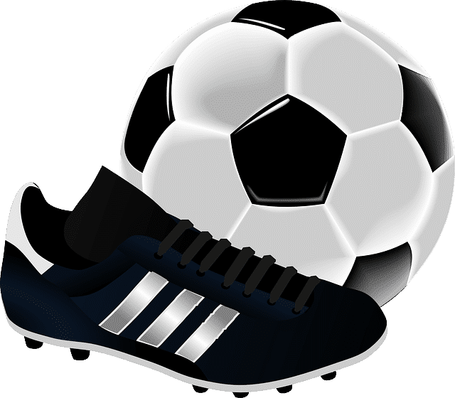 Soccer ball and boot