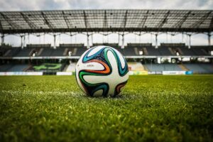 Close up of Football on Pitch